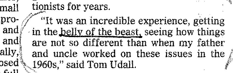 Tom Udall infamous Congress-is-Belly-of-The Beast quote.